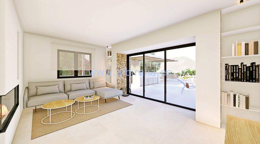 Long term rent villa Albir acces to the garden from the living