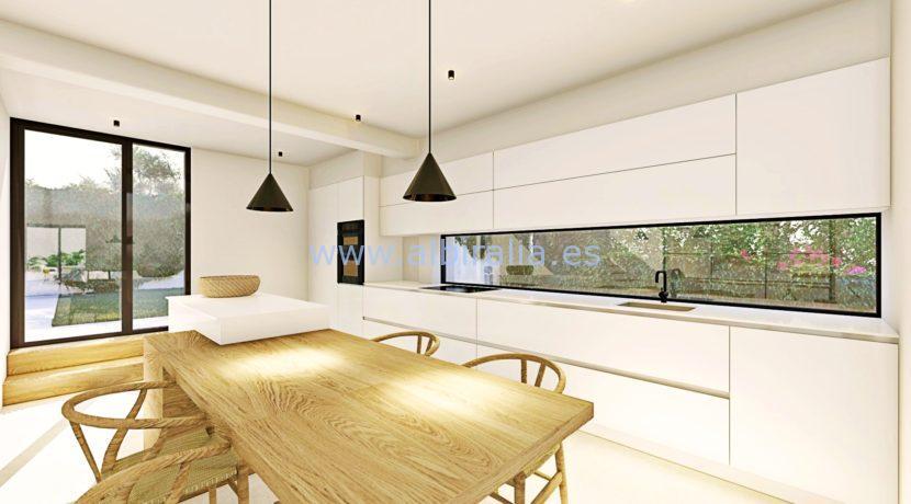 Long term rent villa Albir kitchen and dining room